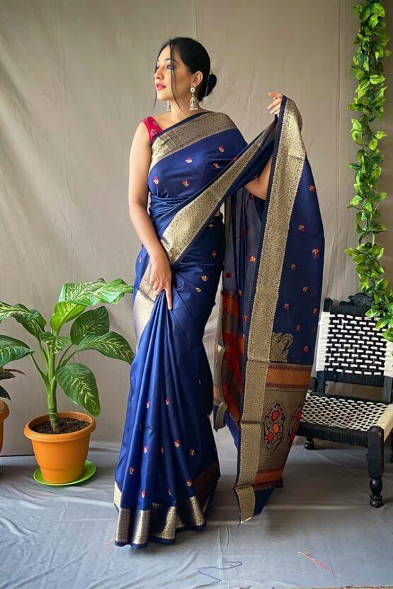 saree marathi look in paithani 2021 blue