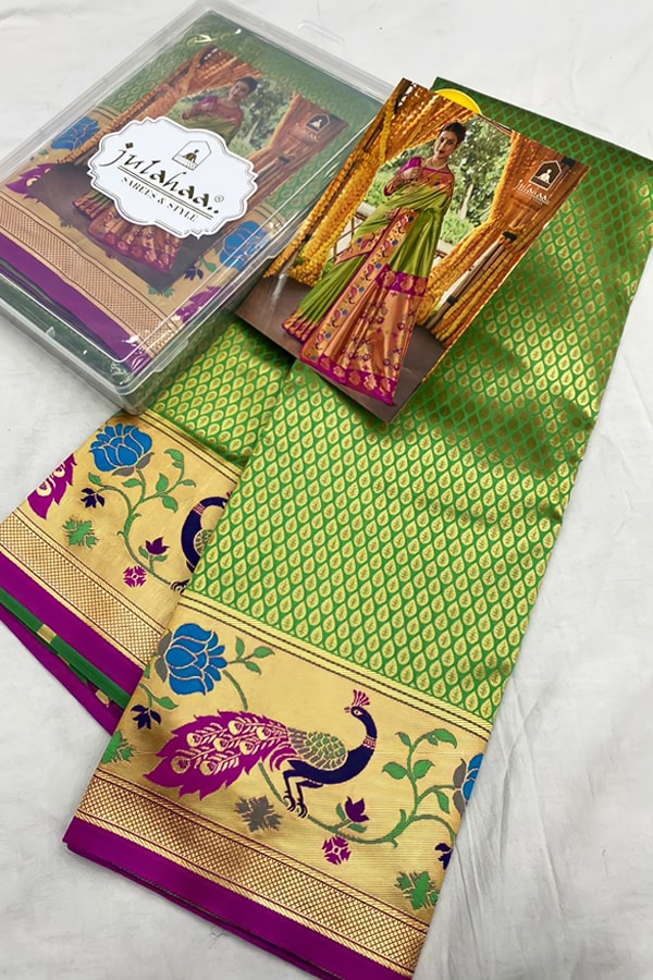 wedding marathi nauvari saree green