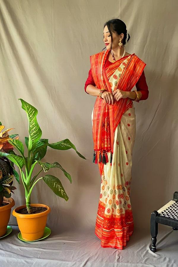 Bengali Red and white saree for Durga puja