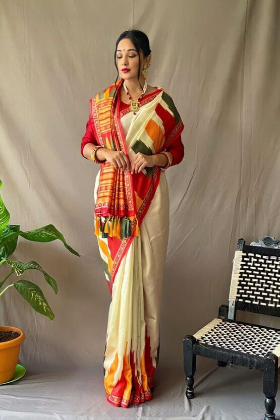 Bengali traditional saree for Durga puja (2)