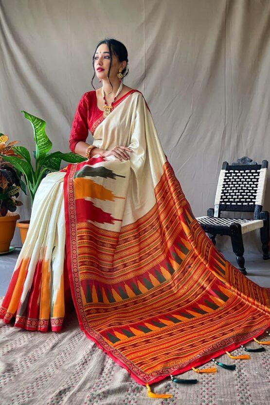 Bengali traditional saree for Durga puja 2021