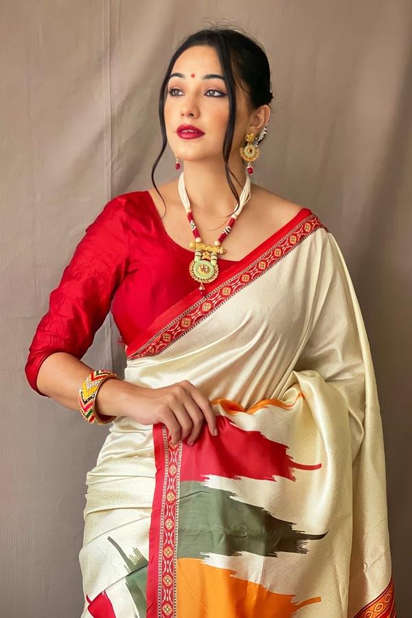 Bengali traditional saree for Durga puja