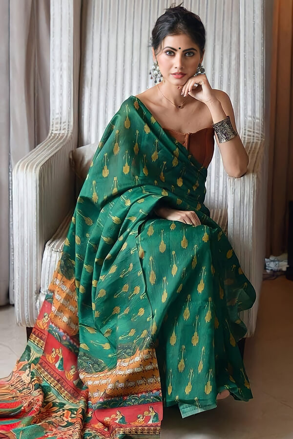 Cotton linen saree online india for girls