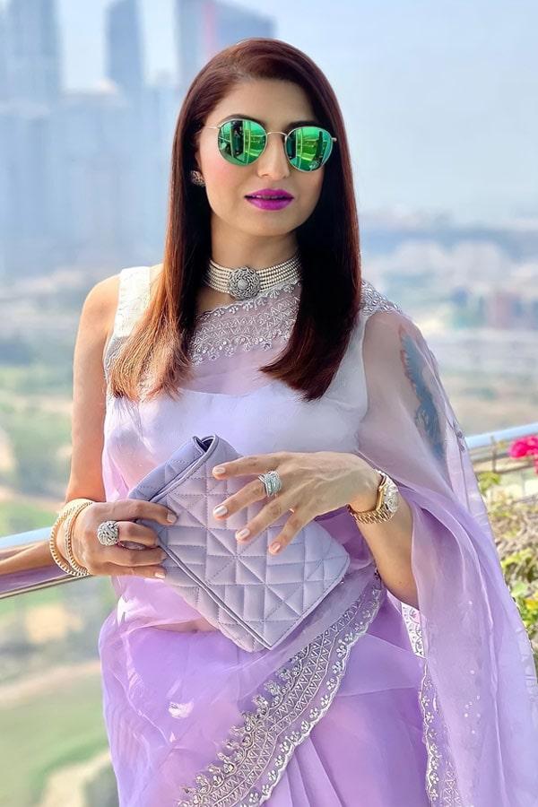 Designer sarees for wedding party .