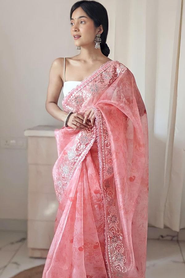 Designer sarees for wedding party online pink