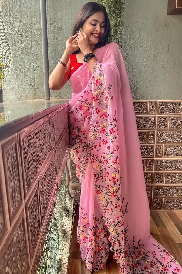 Durga puja saree look collection 2021 yellow pink