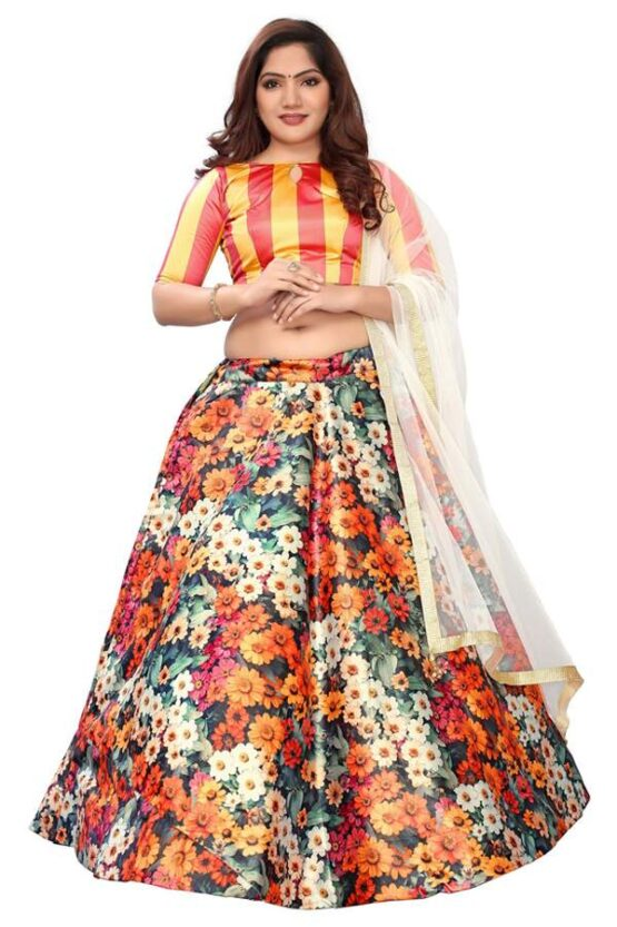 Floral print lehenga with crop top Latest