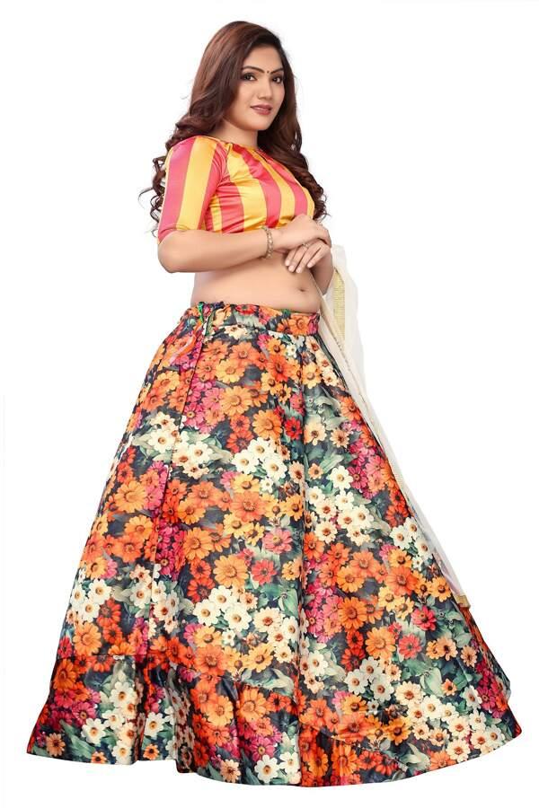 Floral print lehenga with crop top