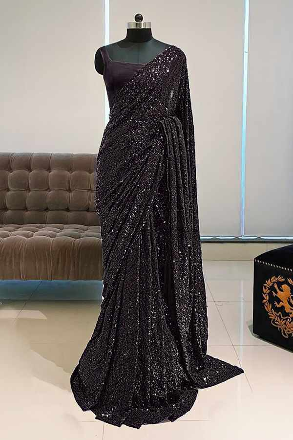 Georgette sequence Bollywood saree Latest