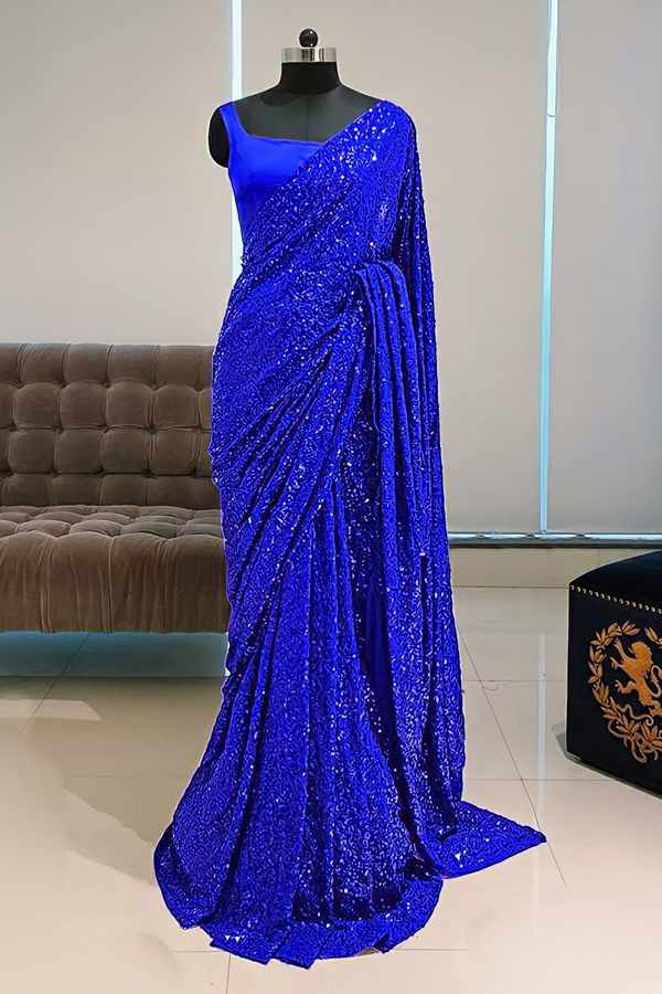 Georgette sequence Bollywood saree blue
