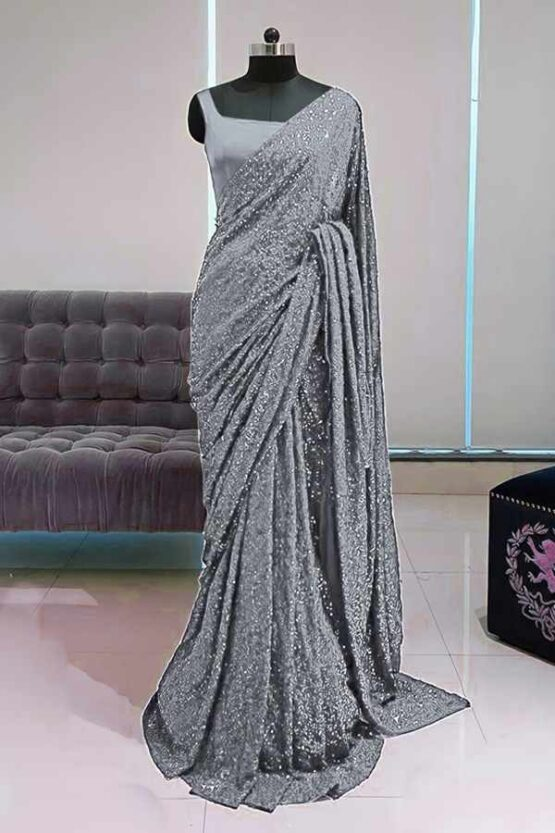 Georgette sequence Bollywood saree grey