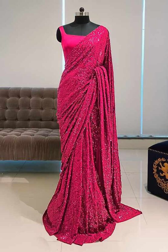 Georgette sequence Bollywood saree pink