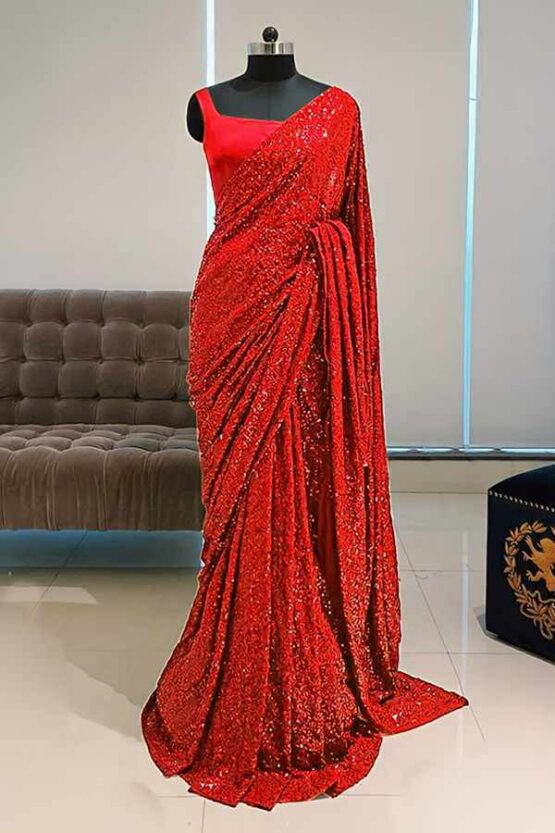 Georgette sequence Bollywood saree red