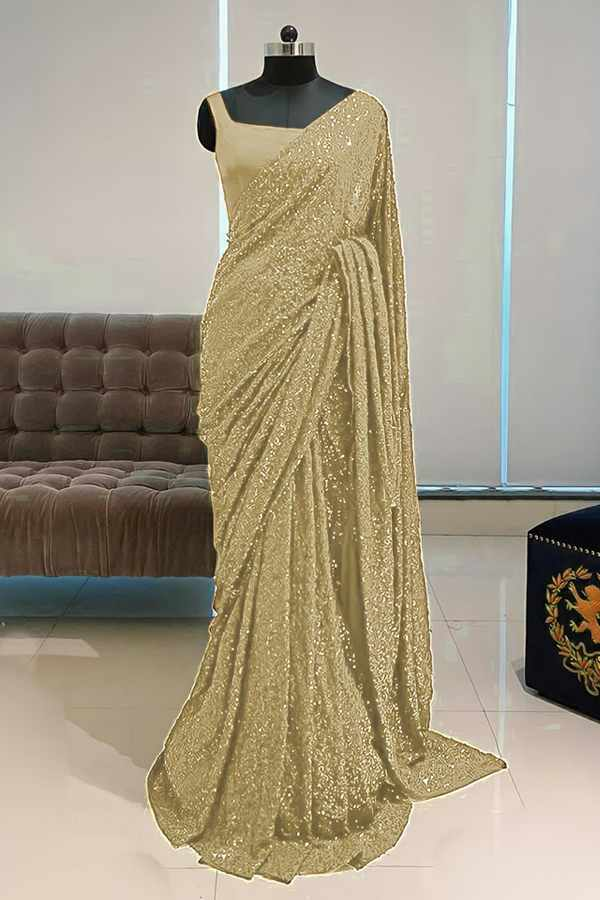 Georgette sequence Bollywood saree wooden color