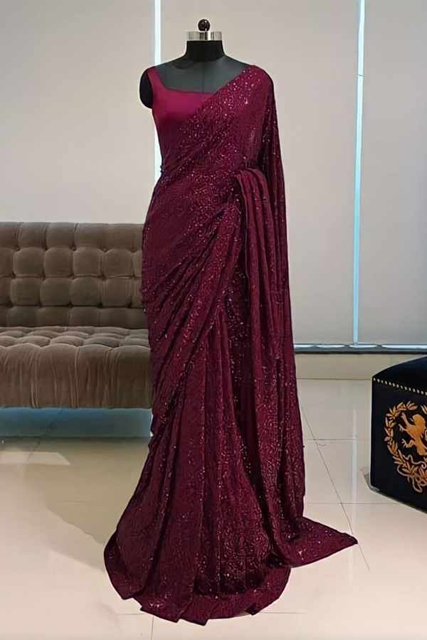 Georgette sequence Bollywood saree.
