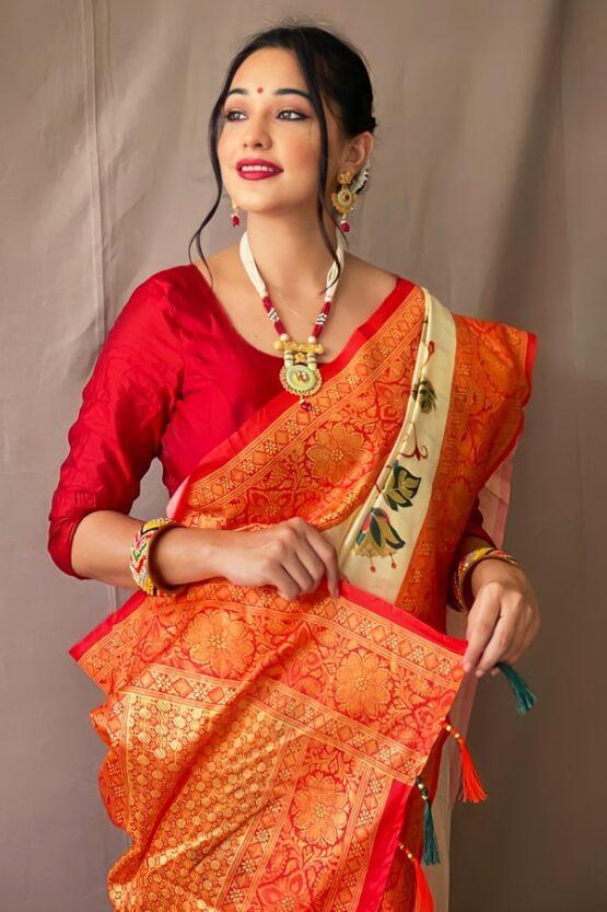 Kolkata Durga puja saree red white