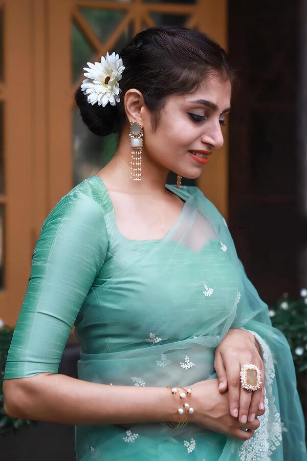 Latest designer organza sarees new