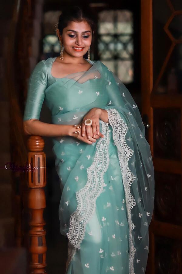 Latest designer organza sarees with price