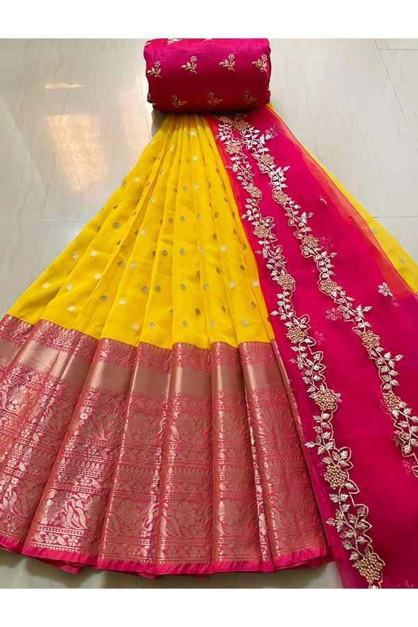 Latest half saree design 2021 orange