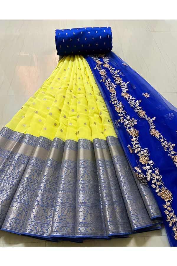 Latest half saree design 2021 yellow