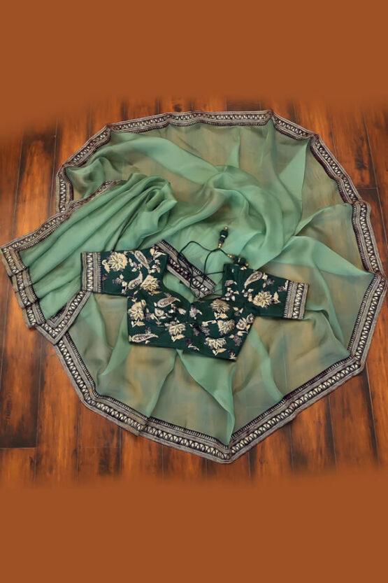 Organza saree with zari border for Ladies 2021