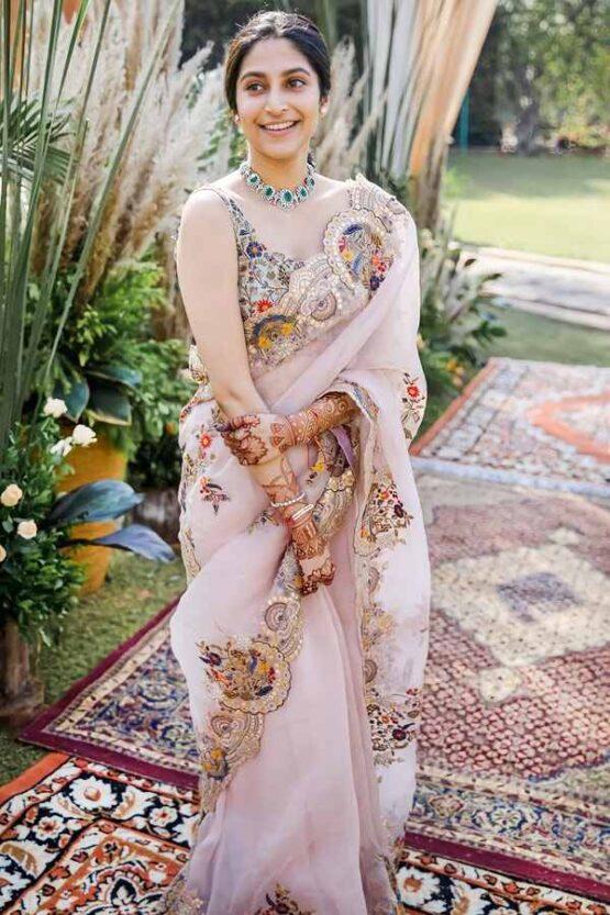 Organza silk saree for wedding
