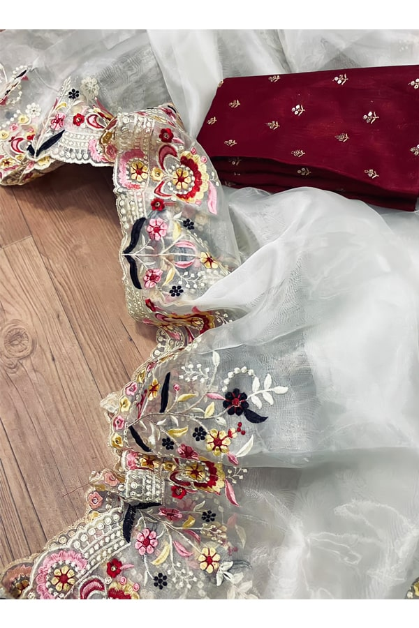 Organza silk saree for wedding Embroidered.