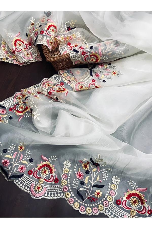 Organza silk saree for wedding Embroidered