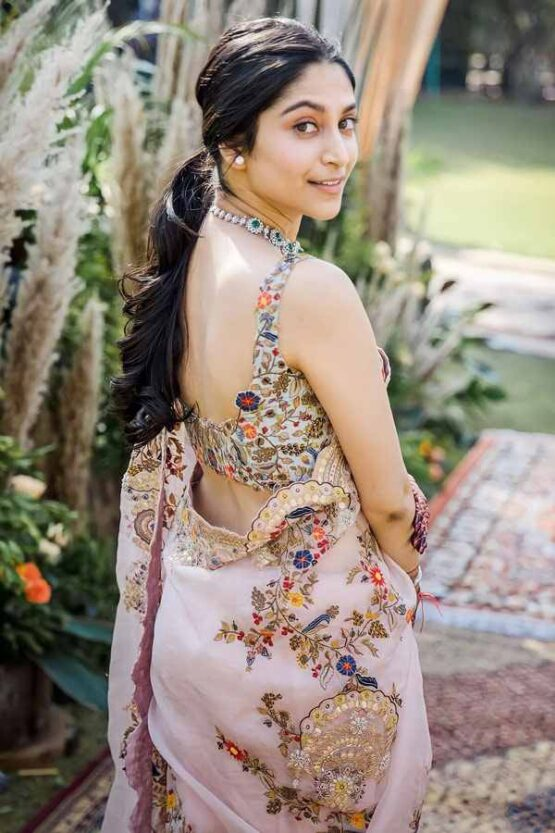 Organza silk saree for wedding Embroidery