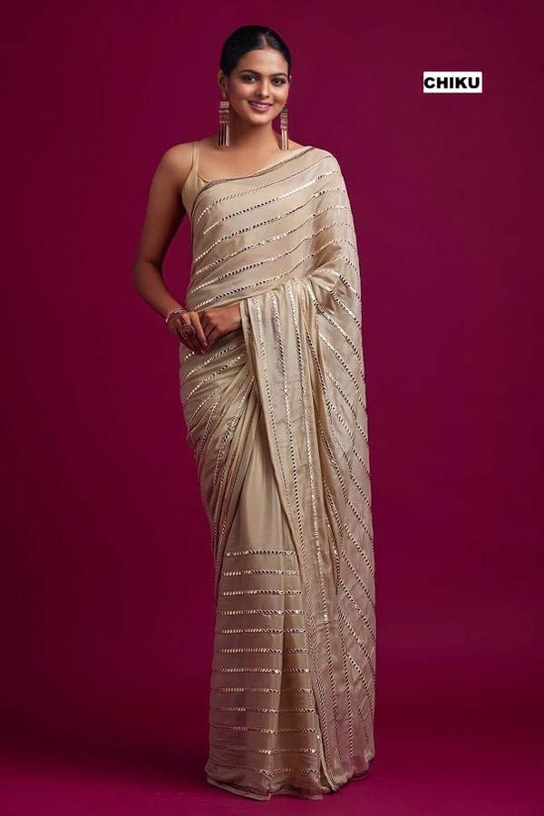 Party wear silk saree for unmarried girl (2)