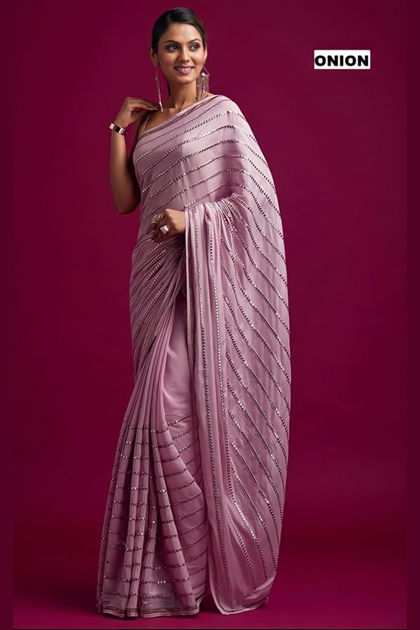Party wear silk saree for unmarried girl 2021.
