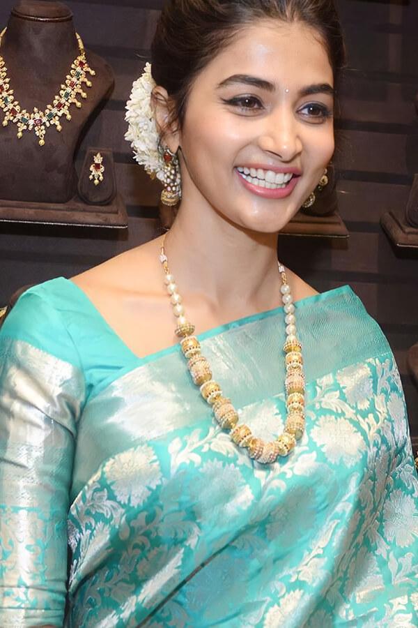 Pooja hegde in saree Litchi Silk traditional
