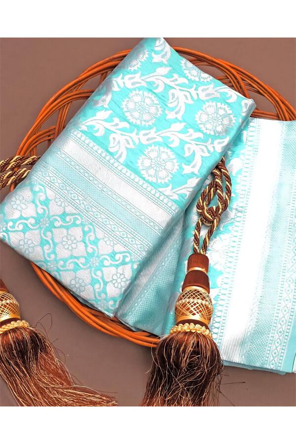 Pooja hegde saree Traditional Litchi Silk Saree .