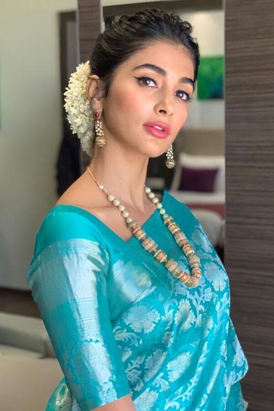 Pooja hegde saree Traditional Litchi Silk Saree