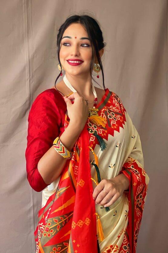 Red White saree for Durga puja
