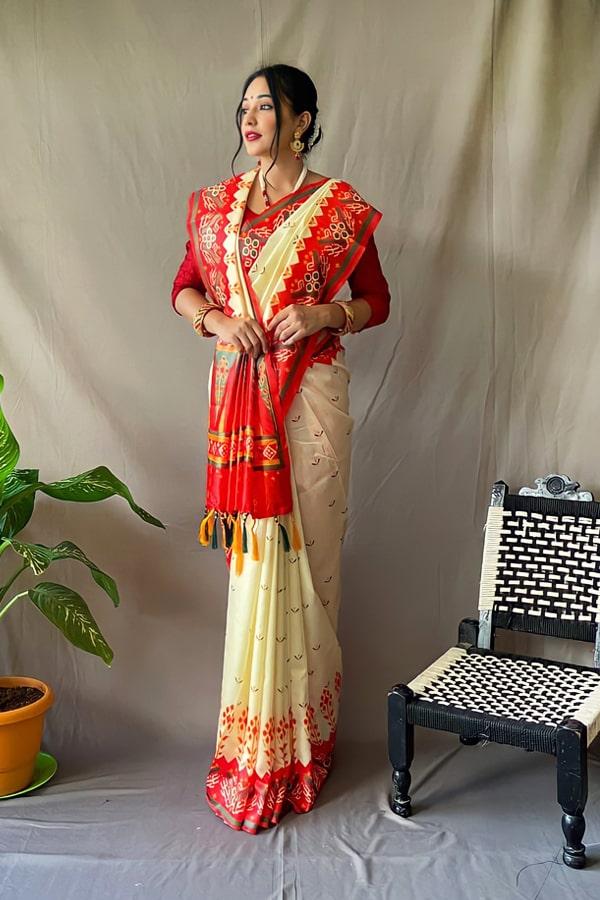 Red White saree for Durga puja Kolkata