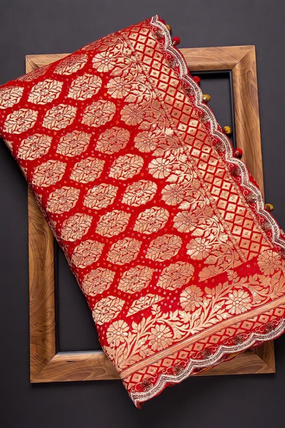 Red and white saree for durga puja 2021 Collection