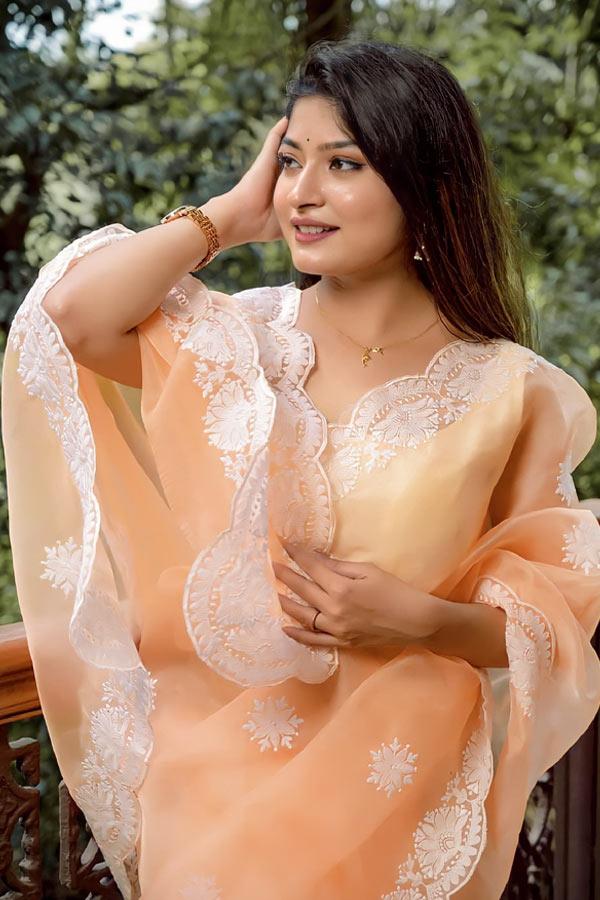 Saree for girls party wear 2021-2022 orange