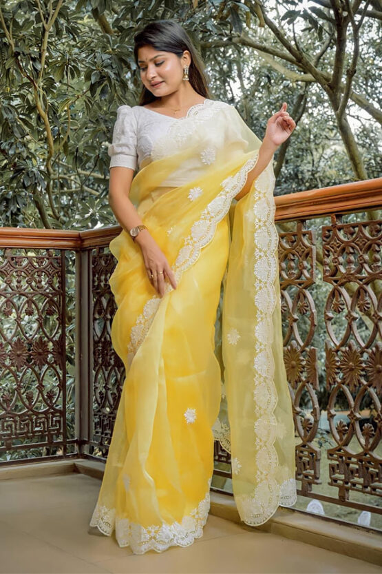 Saree for girls party wear 2021-2022 yellow.