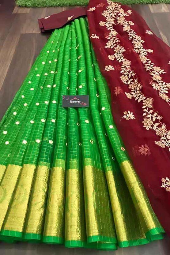 South Indian half saree online Shopping green