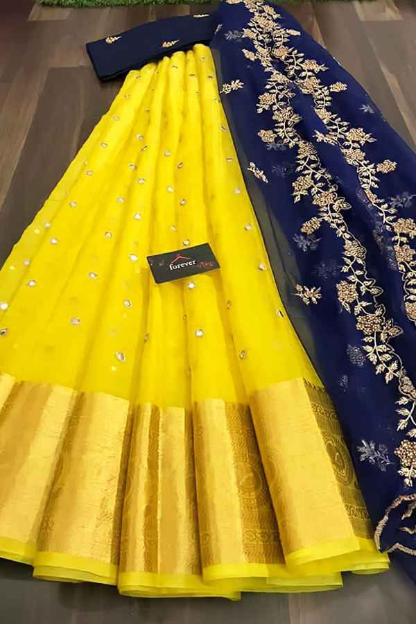South Indian half saree online Shopping yellow