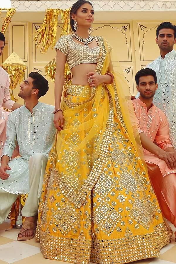 Stylish lehenga for Haldi ceremony Yellow.
