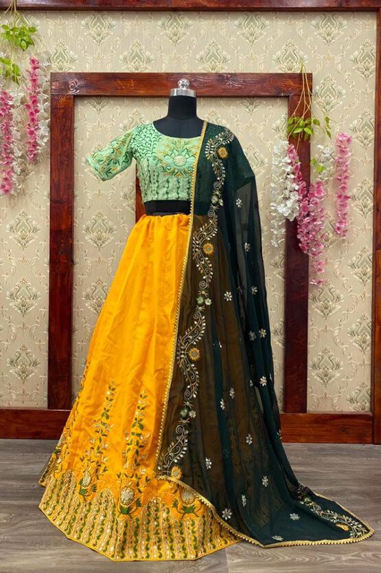 mehndi lehenga for bride sister online