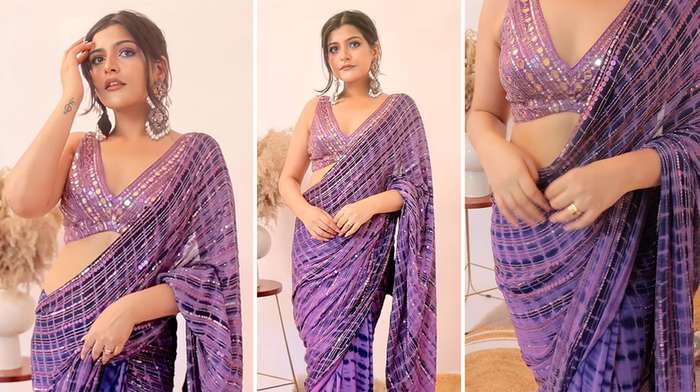 Modern Saree for Girls farewell - Purple