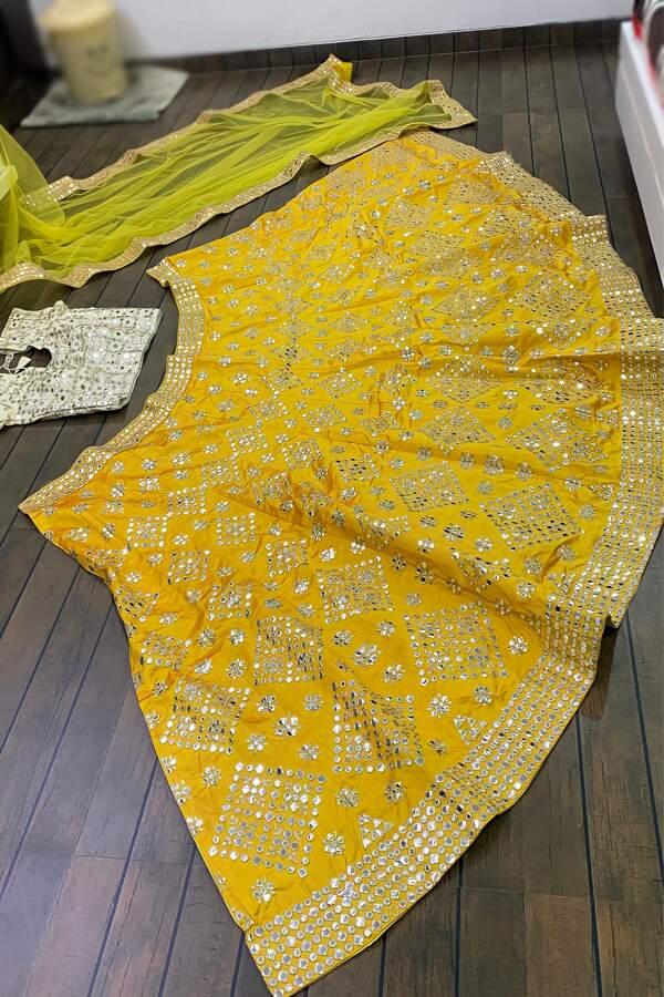 stylish lehenga for haldi ceremony YELLOW