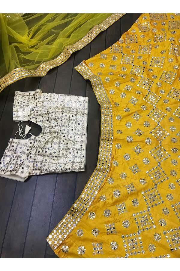 stylish lehenga for haldi ceremony.