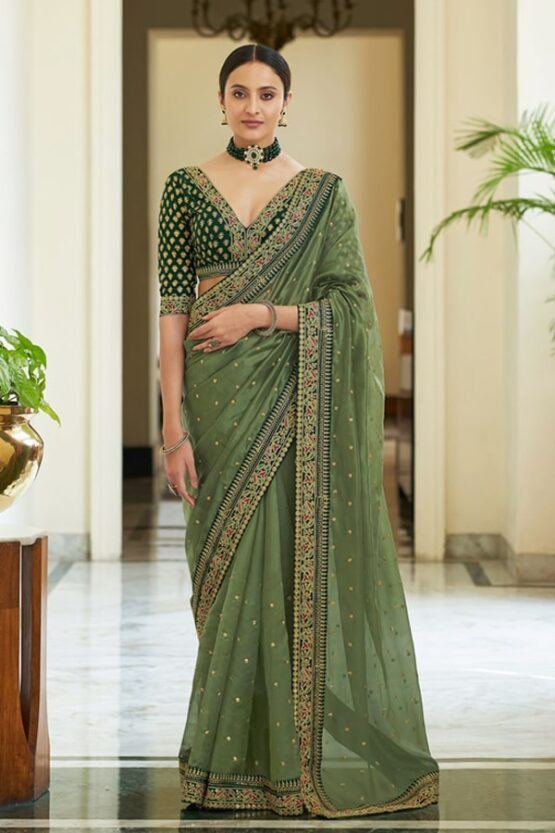 Designer sarees for Wedding Party online olive