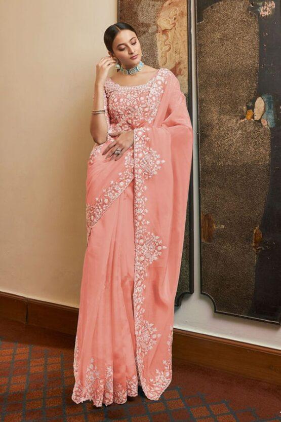 Designer sarees for wedding with Price Peach
