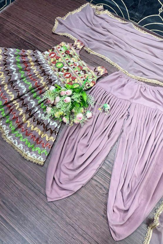 Dhoti and crop top for Wedding girls purple