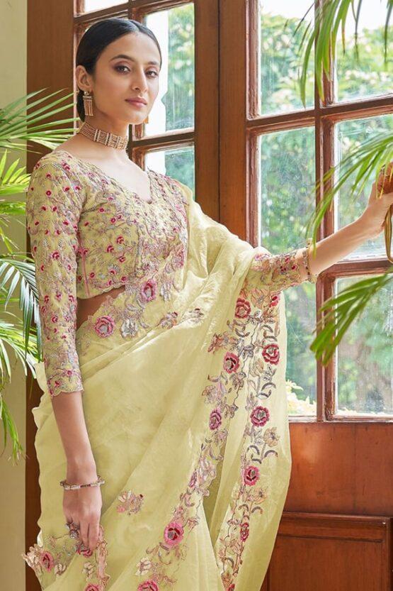 Indian wedding guest saree Yellow 2022-2021